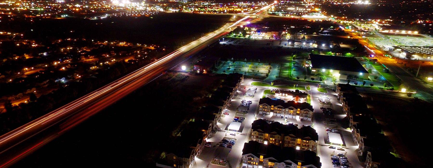 aerial night shot of Meridian